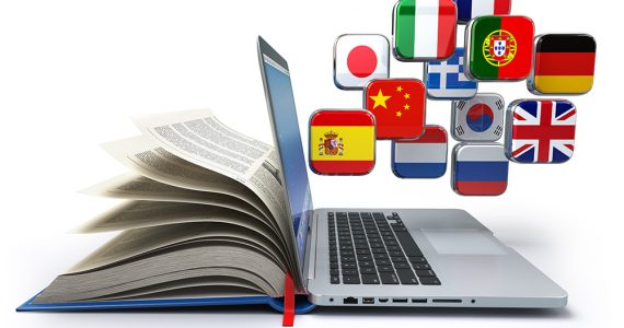 E-learning or online translator concept. Learning languages onli